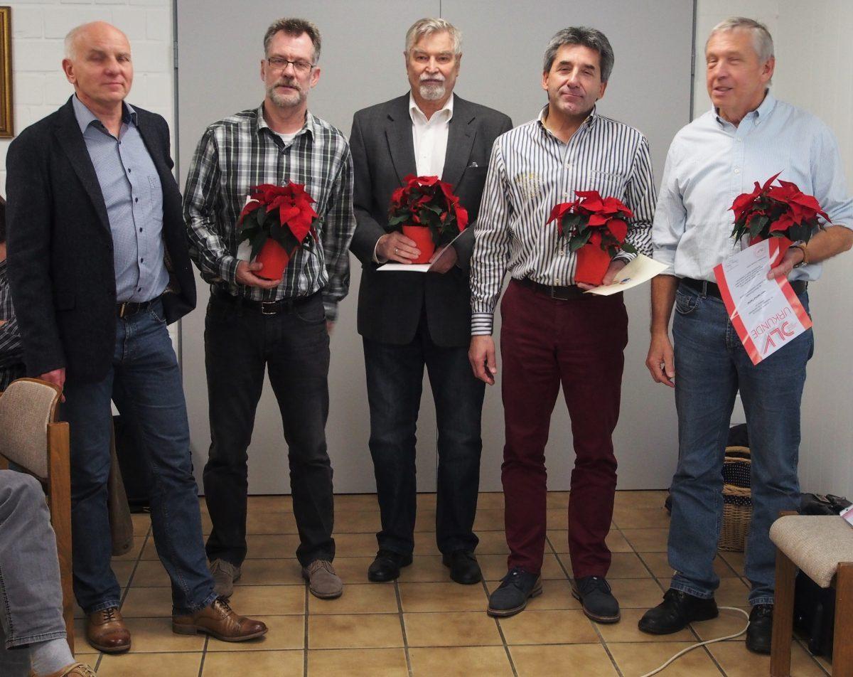 Uwe Wartenberg mit den Geehrten Ulrich Fesca, Jürgen Henning, Ulrich Baden und Hartmut Fischer (v.l.n.r.)